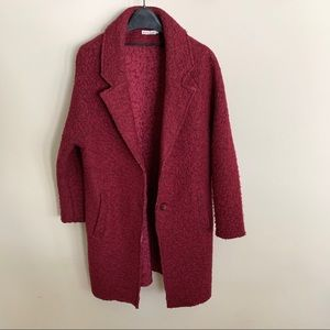 Chunky Knit Woolen Coat Red